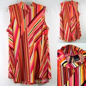 New Directions L Tunic Top Mod Striped Stretch